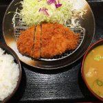 松のや清須店のロースかつ定食と豚汁 @西枇杷島