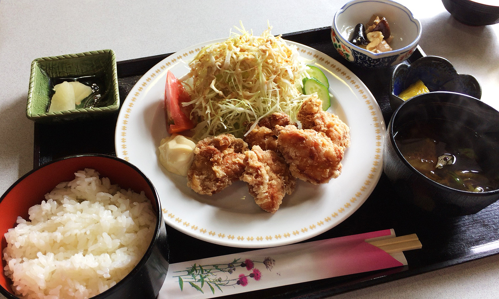 「Cafe Rout66」の唐揚げランチ @大野木