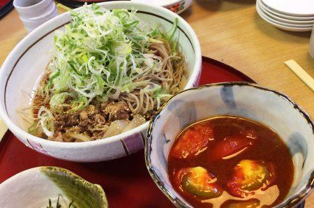 「和食麺処サガミ新川店」のトマト肉ねぎそば @星の宮