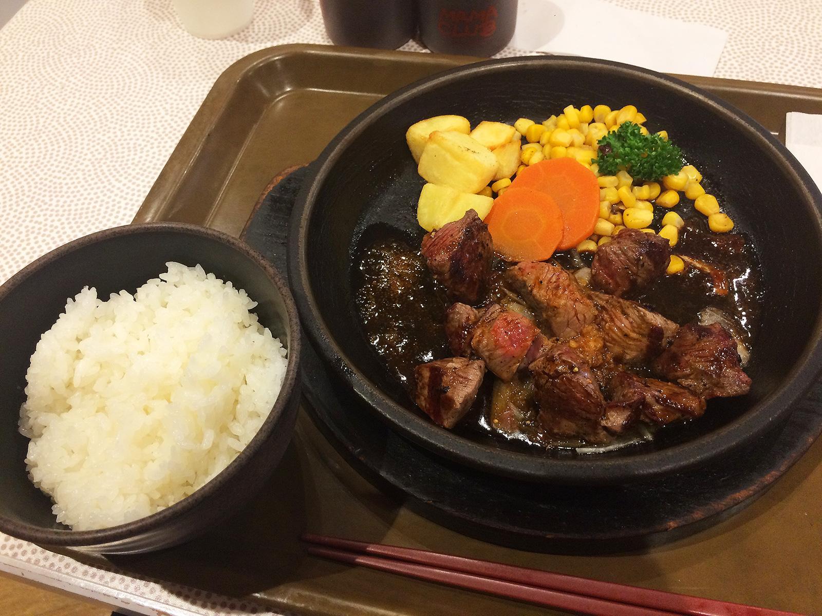 「CABステーキ mozoワンダーシティ店」のひとくちカットステーキ @上小田井