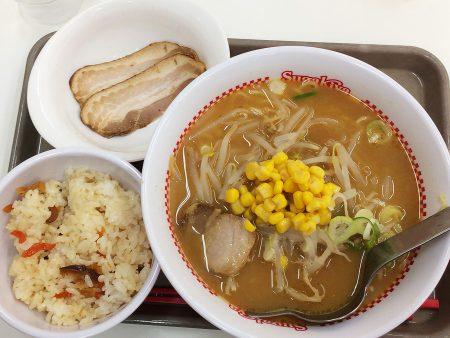 「スガキヤ西枇杷島フランテ店」の味噌ラーメンと五目ごはんセットとでらチャーシュー @下小田井