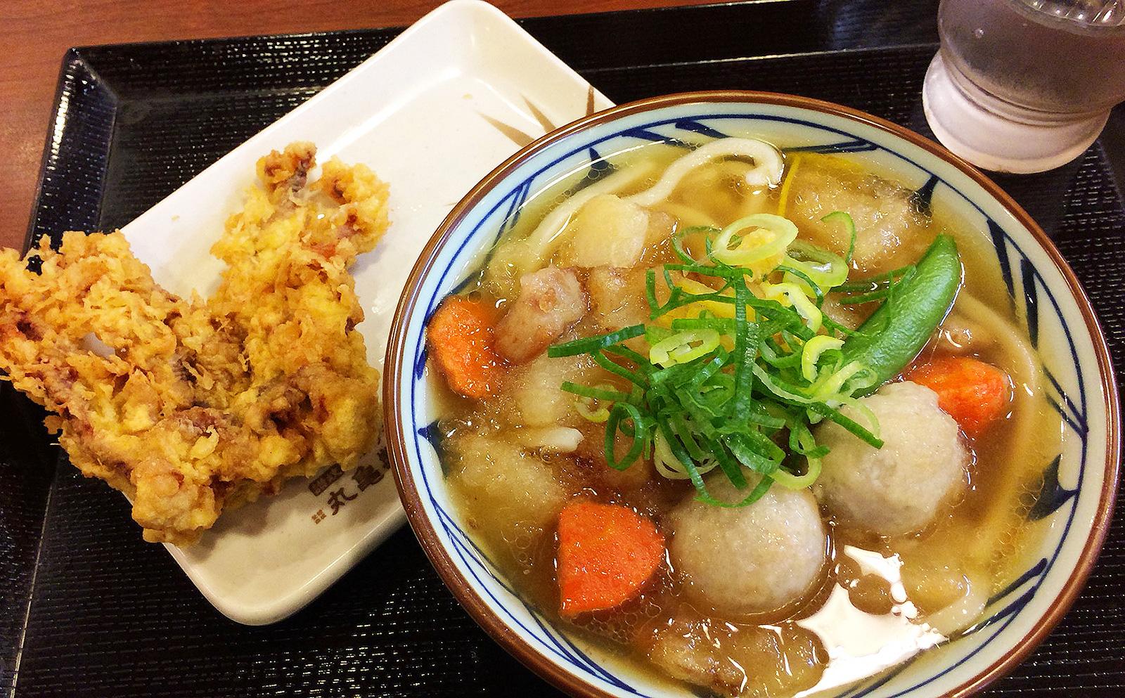 「 丸亀製麺 北名古屋店」のごろごろ野菜の揚げだしうどんとゲソから @西春