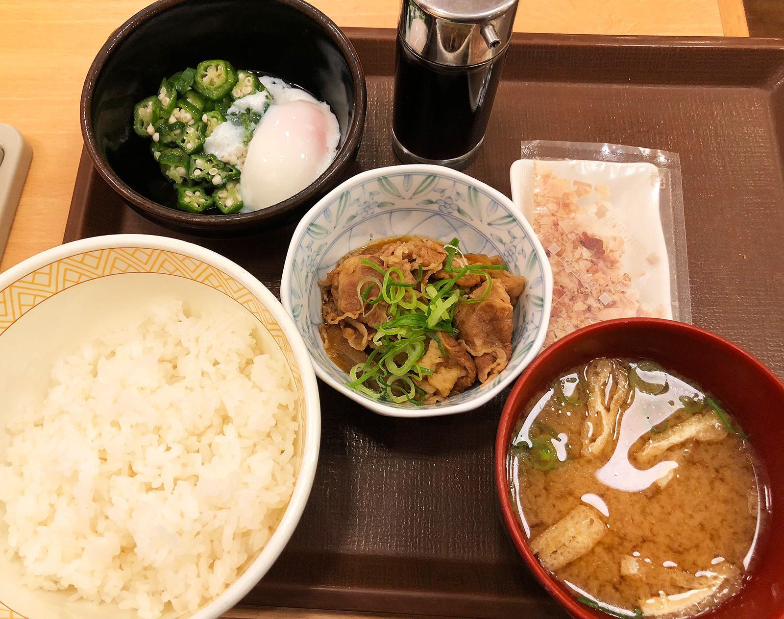 「すき家名古屋大野木店」のまぜのっけごはん朝食 @大野木