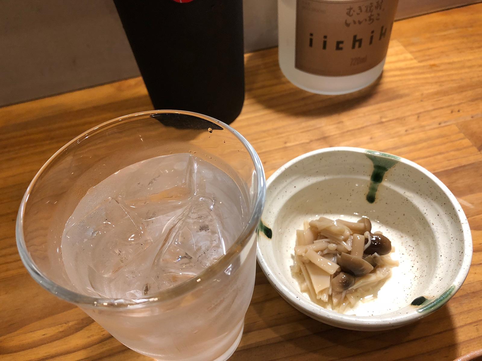 「炭火焼肉・ホルモン さらえ亭」の鳥ハツとしいたけとせせりポン酢 @下小田井