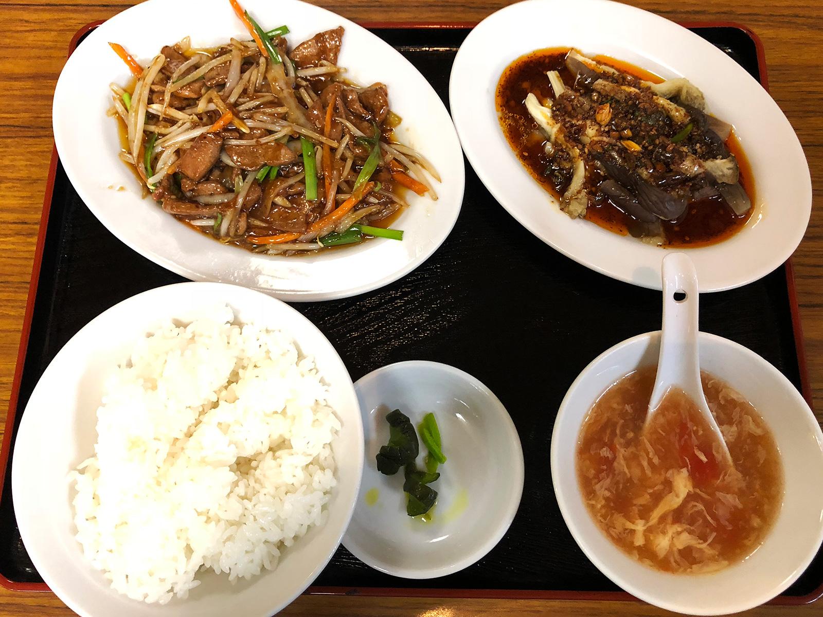 「台湾料理 小台北」のニラレバ炒めと蒸し茄子のランチ @上小田井
