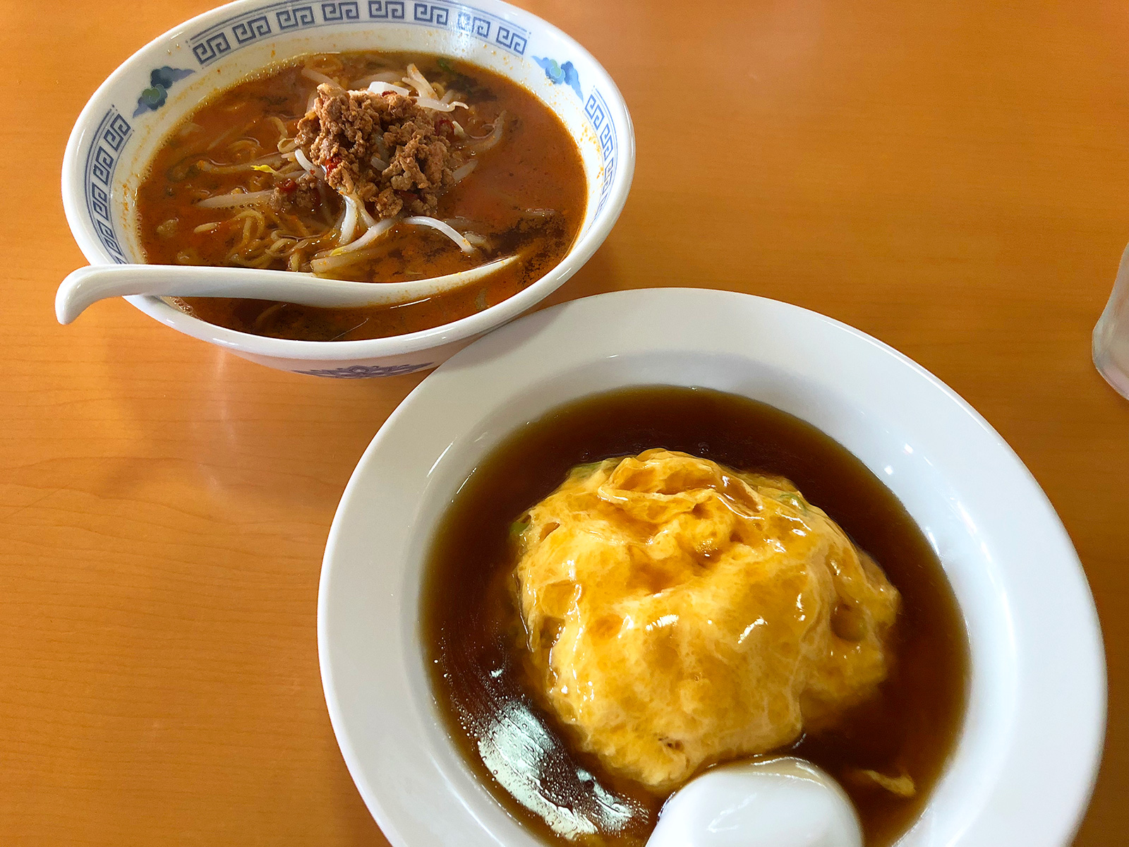 「味鮮館」の担々麺と天津飯セット @下小田井