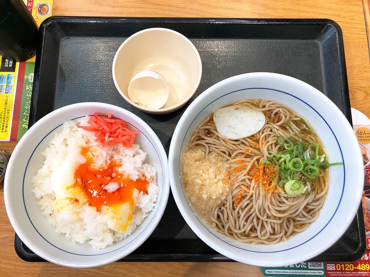 「なか卯 R22康生通店」の朝そば温たまセット @名古屋市西区康生通