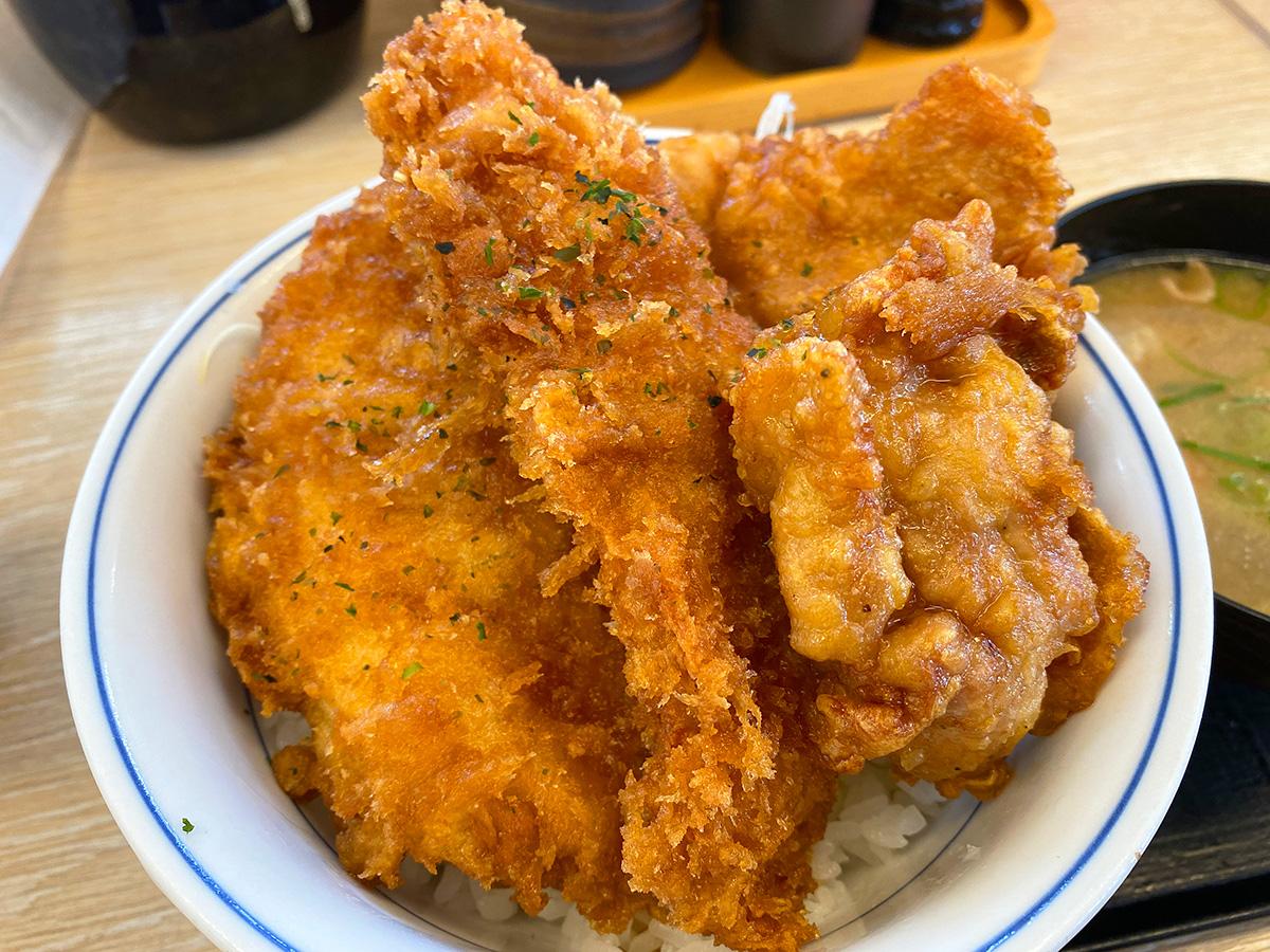 「かつや 名岐バイパス春日店」のタレカツとから揚げの合い盛り丼 @清須市春日